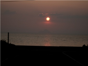 キャンプ場からの夕陽